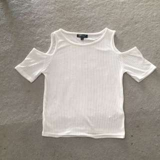 TOPSHOP White Ribbed Cropped Top