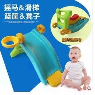 青蛙溜滑梯+搖搖椅送籃框籃球
