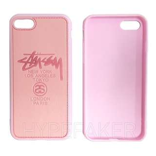 Stussy World Tour Pink Leather Back TPU Side I phone Iphone Plus 7 Cover Case Casing Cases Casings