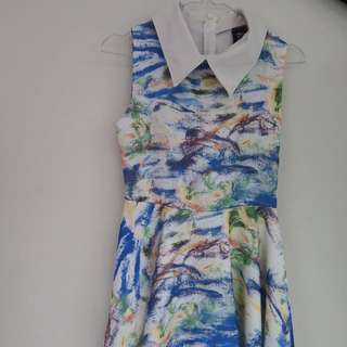 Abstract Collar Dress