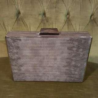 Olga Berg Grey Box Clutch