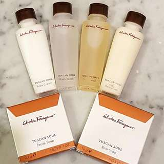 Authentic Salvatore Ferragamo Bath Shower Soap Shampoo Lotion Set