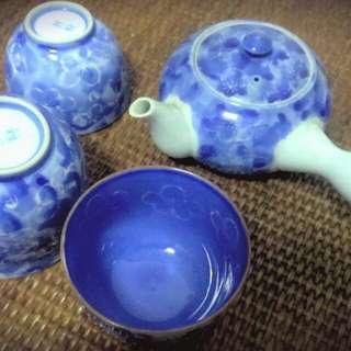 寶藍色 鑲花圖騰 陶瓷茶具組
