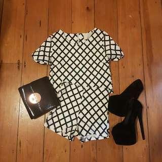 2 Piece Set Shirt & Short Black White Print