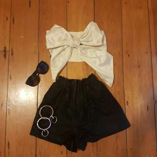 Leather Look High Waist Shorts Size 8
