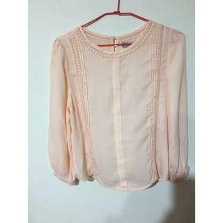 ✨粉橘色雪紡上衣✨