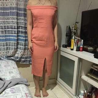 peach long dress