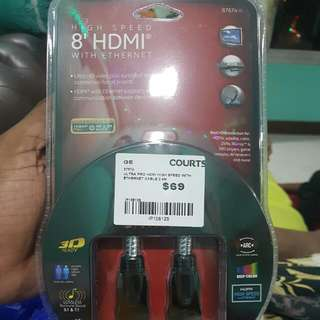 High Speed 8' hdmi With Ethernet Cable