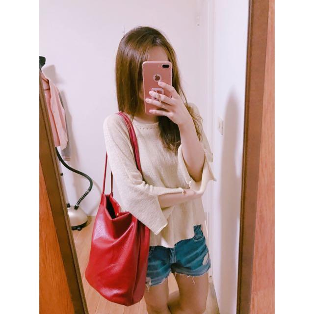 韓版長背帶紅色肩背包