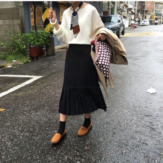 高腰半身壓褶長裙