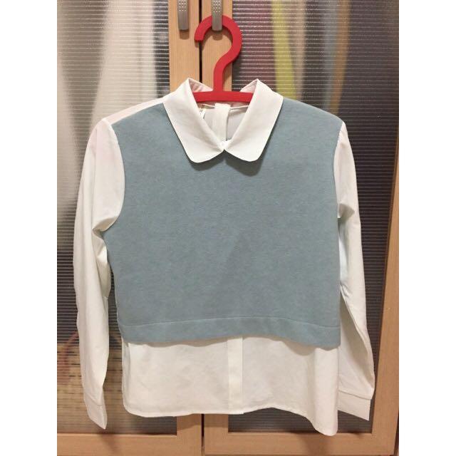 全新 雪紡白襯衫