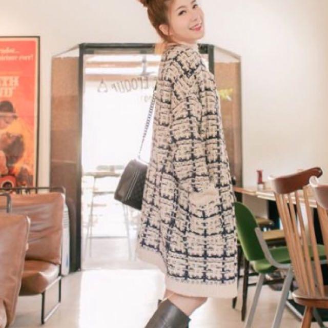 正韓 香奈兒風 格紋 針織外套