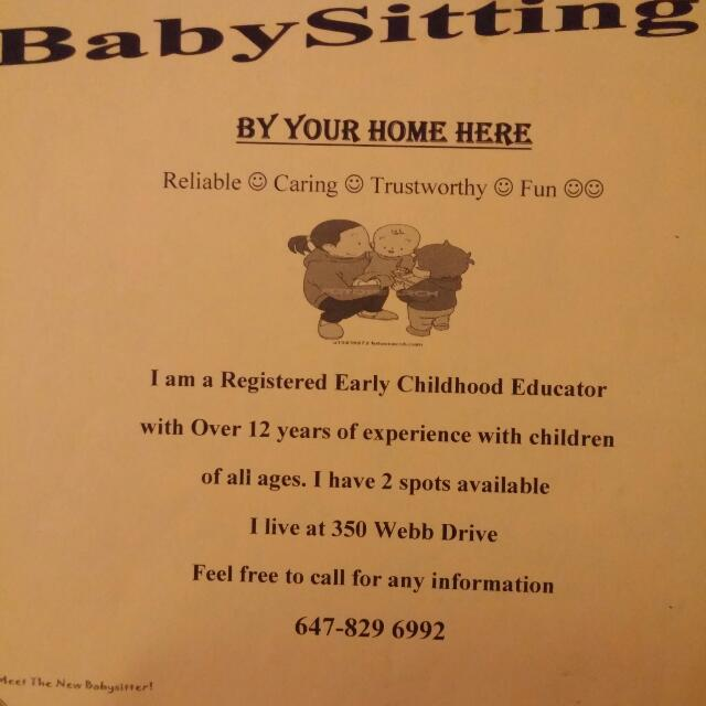 Babysitter/child Care Available