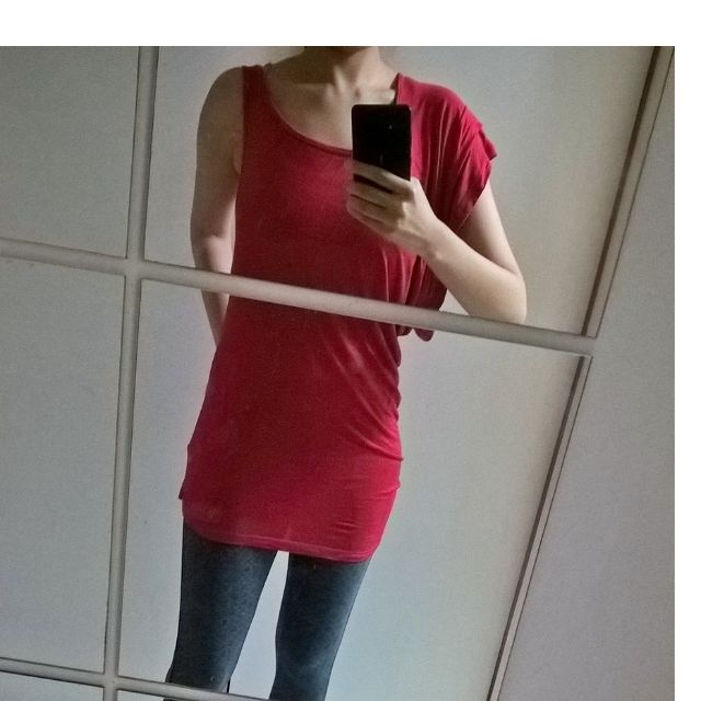 BERSHKA NEW RED asymmetrical top