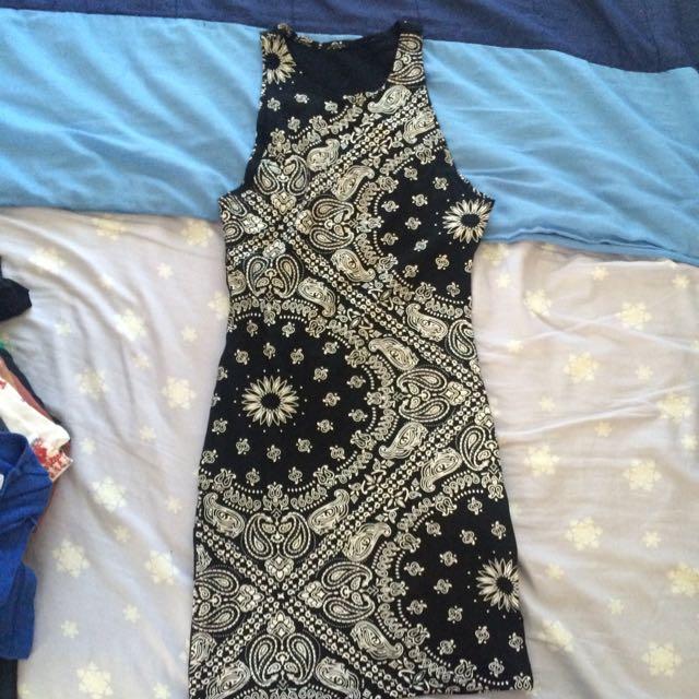 Black Bandana Print Short Dress