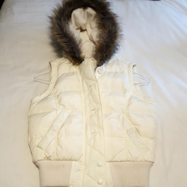 Bubble Vest With Fur Hood
