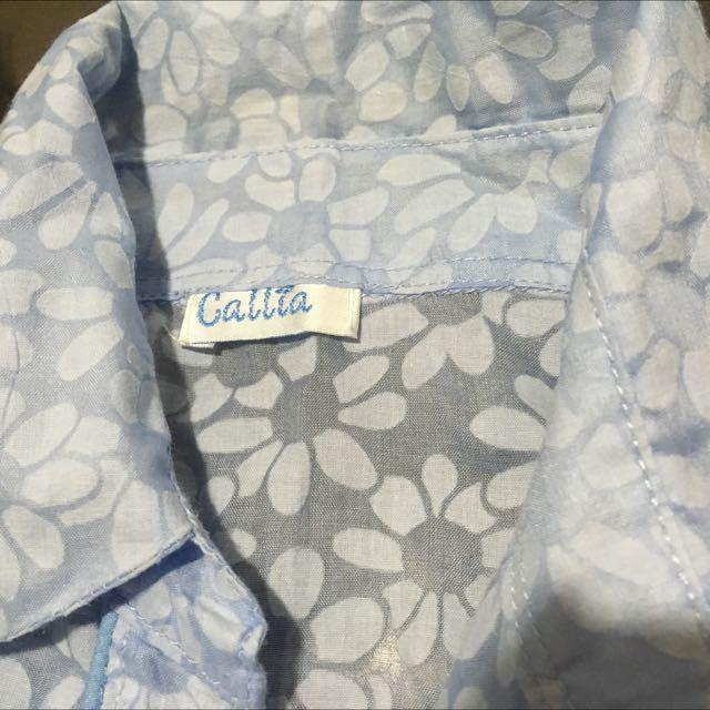 #1212CALLIA Blue 3/4 Sleeves Polo