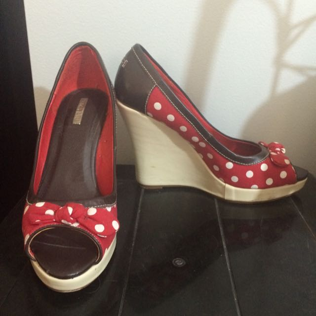 Canvas Leather Wedges Size 9