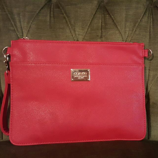 Collette Red Zip Clutch
