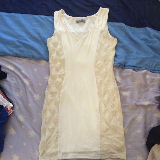 Forcast Creamy White Short Tight Dress