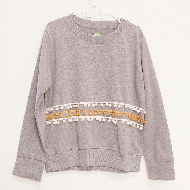 Grey Sweater pompom