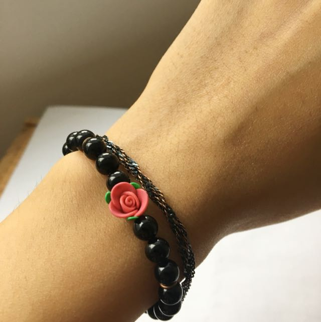 Handmade Bracelet With Black Beads And Rose Charm