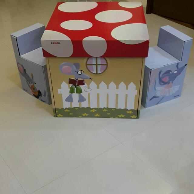 Clearance Crazy Sale Krooom Eco Friendly Recyclable Reinforced Cardboard Table And Chair Set Mushroom Valley Matching 2 Stools Babies Kids On Carousell