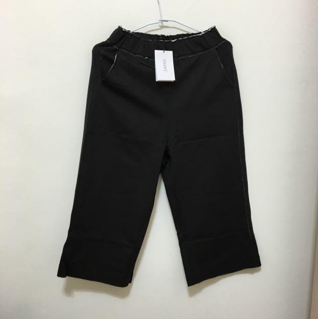 Lanas 親子系列特殊縫份外漏棉寬褲