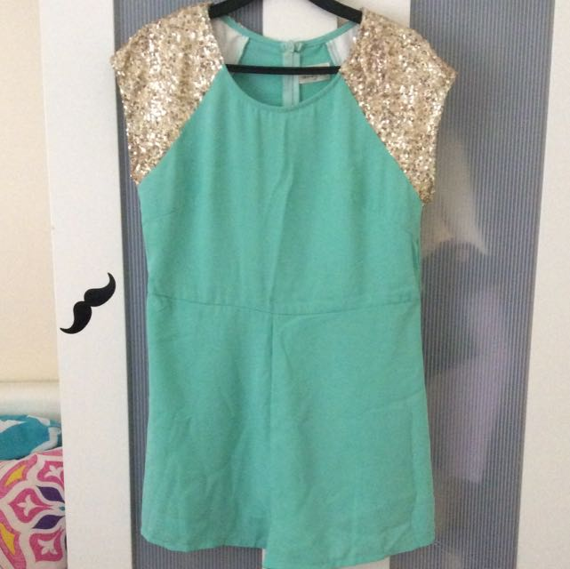 Mint Dress With Gold Sequins