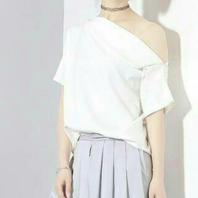 One Shoulder White Tee