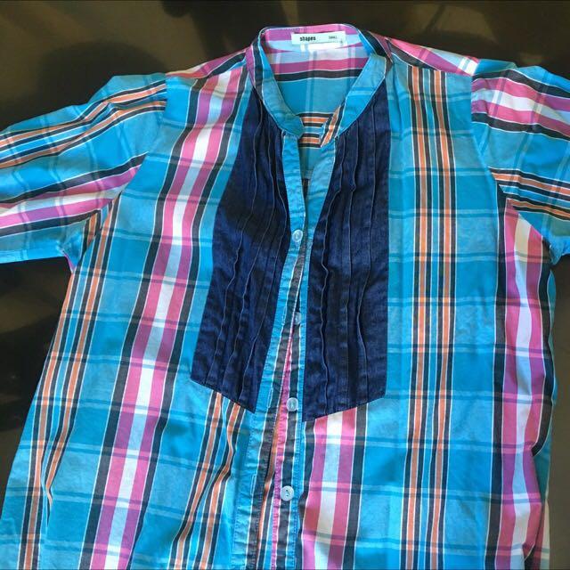 #1212 SHAPES Blue Plaid 3/4 Sleeves