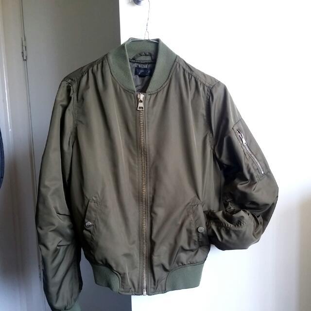 Topshop Bomber Jacket Khaki Size 6 XS