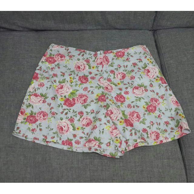KAMAYO Womens high waist shorts ( flower design-light blue)