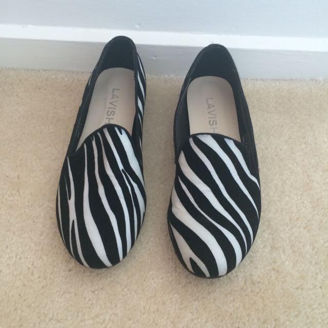 Zebra Print Flat Mules