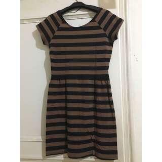 Brown Black Strip Dress - Cotton On