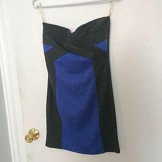 Black&blue Strapless Dress