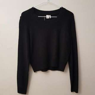 Cropped Black Knit Sweater