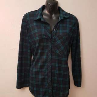 Green Side Slit Flannel