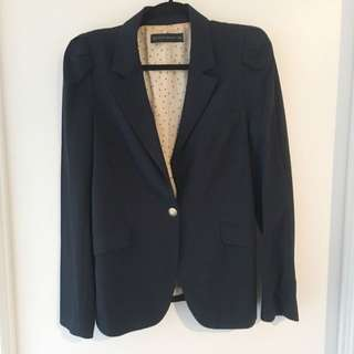 Zara Navy Long Blazer