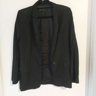 Zara Basics Black Long Blazer