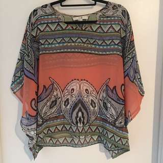Forever 21 Multi Coloured Poncho Blouse
