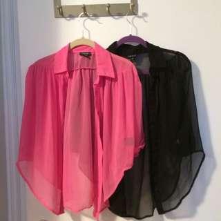 Pink&Black Sheer Blouses