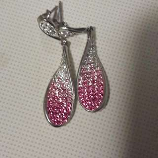 Swavorski White And Pink Crystal Sterling Silver Earrings