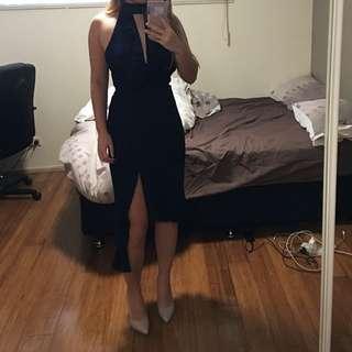 ATTIK - Navy Blue Semi-formal Choker Party Dress