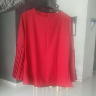 Blouse Pleated Sleeve