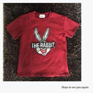 兔寶寶紅色厚棉短T