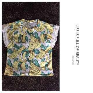 全新-滿版香蕉🍌流蘇袖口設計上衣