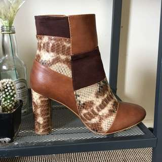 Truffle Collection Suede And Snakeskin Patchwork Boots