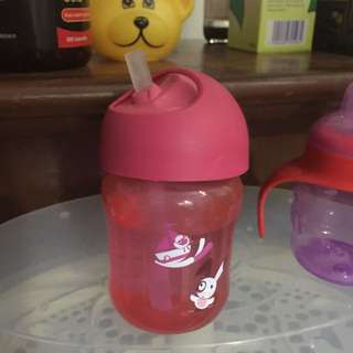Avent Straw Bottle (red)
