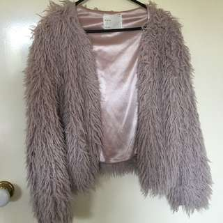 Dusty Pink Fluffy Long Hair Jacket